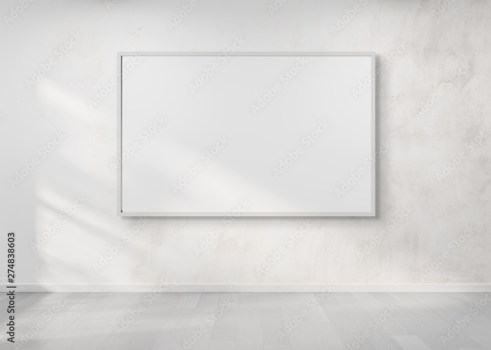 Fototapety, obrazy: White frame hanging on a wall mockup 3d rendering