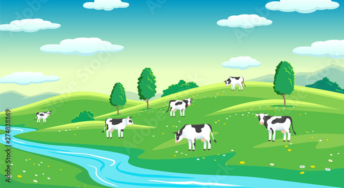 Photo Stands Turquoise Colorful farm summer landscape, blue clear sky with sun, cows on field