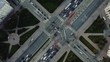 AERIAL. Animation of police drone tracking traffic from the top view. Traffic monitoring system concept.