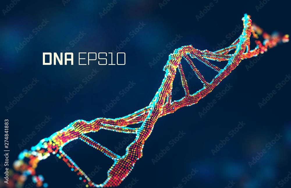 Fototapeta dna molecule vector illustration. Genetic science abstract background. Gene design