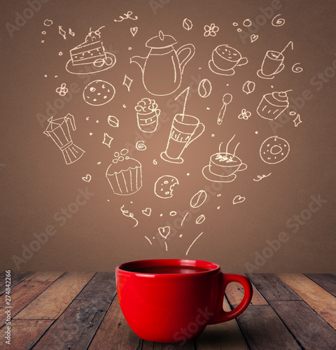 Steaming hot drink decorated with doodle drawings  - 274842266