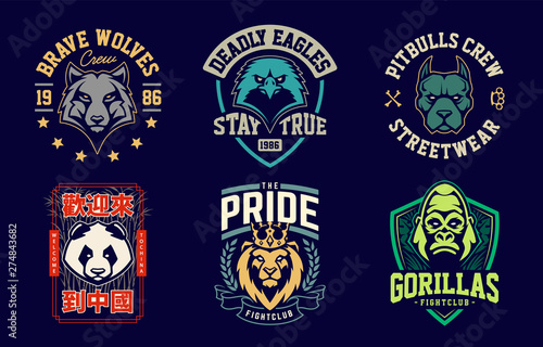 Emblem design templates with different animals mascots Canvas Print