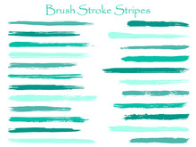 Vintage Ink Turquoise Brush Stroke Stripes Vector Set, Horizontal Marker Or Paintbrush Lines Patch. Hand Drawn Watercolor Paint Brushes, Smudge Strokes Collection. Vector Ink Color Palette Swatches.