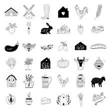 Hand Drawn Farm Icon Set In Do...