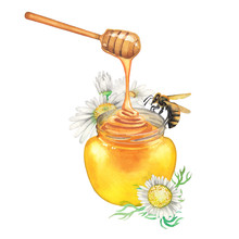 Watercolor Honey Bottle Decora...