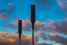 Petone New Zealand Wooden Waka Oars From Maori Culture Standing Looking Up Into Sunset Sky