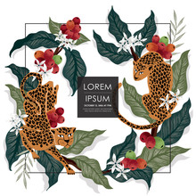 Vector Illustration Of A Frame With Leopards & Coffee Trees In Africa. Tropical Vintage Background For Wedding, Anniversary, Birthday And Party. Design For Banner, Poster And Invitation Card
