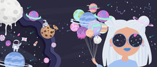 ПечатьSpace Girl Cartoon Poster With Fantasy Sweets Planets, Stars, Candy And Girl. Birthday Party Invitation, Fantasy Galaxy Game Concept. Editable Vector Illustration