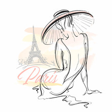 Elegant Girl In A Hat In Paris...