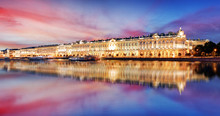 Russia - St. Petersburg, Winter Palace - Hermitage At Night, Nobody