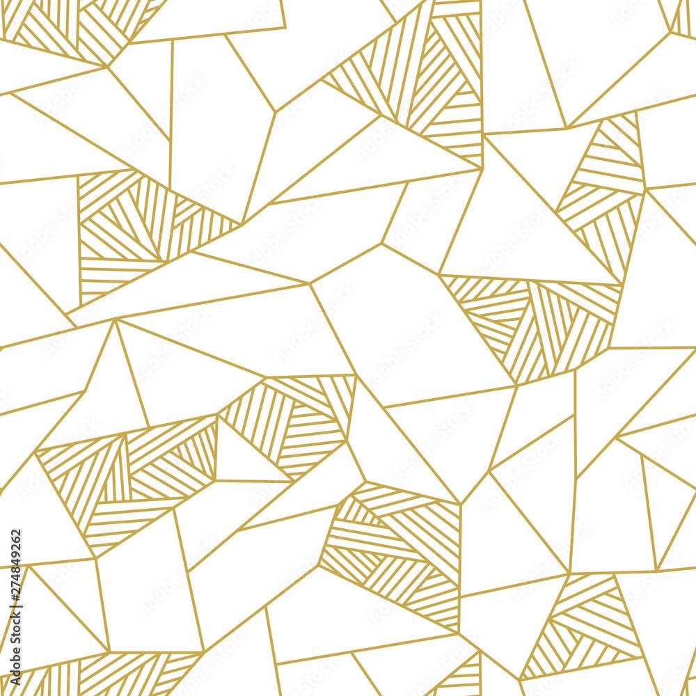 Fototapeta Doodle polygon background. Seamless geometric vector pattern in gold