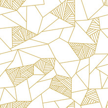 Doodle Polygon Background. Seamless Geometric Vector Pattern In Gold