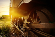 Steam Locomotive Wheel On The Rail