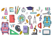 Set Of School Supplies. Vector...
