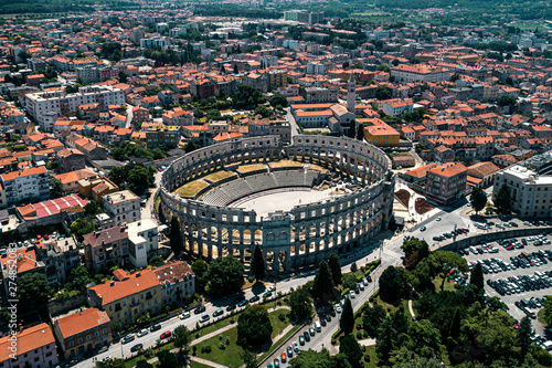 Foto op Canvas Barcelona Pula Arena in Croatia and Pula city old town