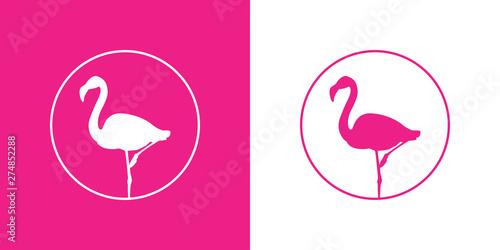 Icono plano flamenco en círculo lineal en rosa y blanco