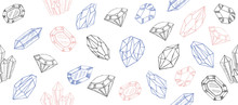Geometric Crystals Pattern With And Minerals. Hand Drawn Illustration.