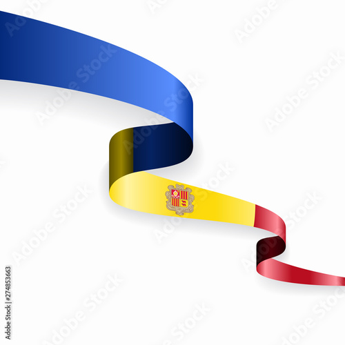 Photo Andorran flag wavy abstract background. Vector illustration.