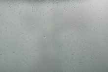 Wet Glass Background Condensate / Abstract Rain, Drops Texture On Transparent Glass