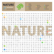 Great Big Thematic Bundle Of 600 Nature Line Icons Suitable For Web, Infographics And Apps. Complete Collection. Clipping Paths Included.