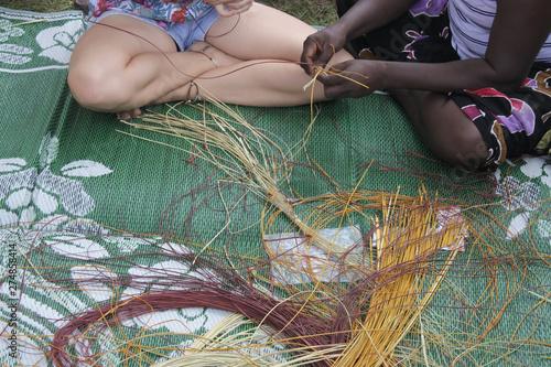 Aboriginal basket weaving Canvas Print