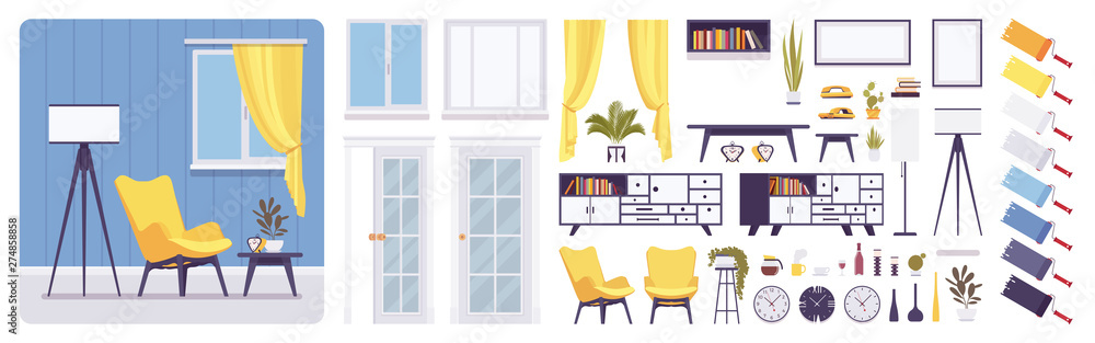 Fototapety, obrazy: Living room interior, home, office creation set, modern inspirational decoration, kit with furniture, constructor elements, build own design. Cartoon flat style infographic illustration, color palette