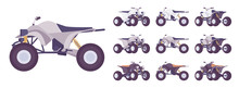 ATV Transport Set. All Terrain Motorized Vehicle, Off Highway Four Wheeler For Dunes, Trails Or Track. Vector Flat Style Cartoon Illustration Isolated On White Background, Different Views And Color