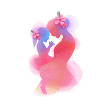 Happy Mother's Day. Side View Of Happy Mom With Daughter  Silhouette Plus Abstract Watercolor Painted.Happy  Mother's Day. Double Exposure Illustration. Digital Art Painting.