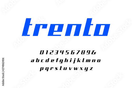 Straight contrast italic font  Vector alphabet with latin