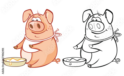 Montage in der Fensternische Babyzimmer Vector Illustration of a Cute Cartoon Character Pig for you Design and Computer Game. Coloring Book Outline