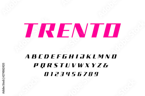 Straight contrast italic font  Vector alphabet with latin