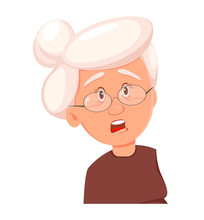 Face Expression Of Grandmother, Scared
