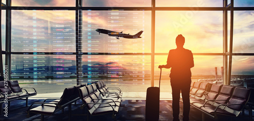 Silhouettes passenger airport. Airline travel concept. Canvas