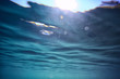 ocean water blue background underwater rays sun / abstract blue background nature water