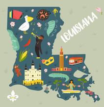 Louisiana Cartoon Map With Landmarks And Symbols