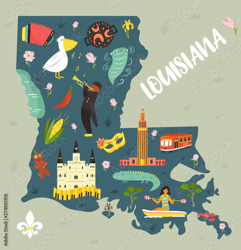 Louisiana Cartoon map with landmarks and symbols фототапет