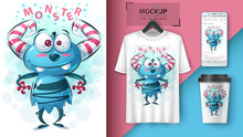 Cute Monster - Idea For Print T-shirt