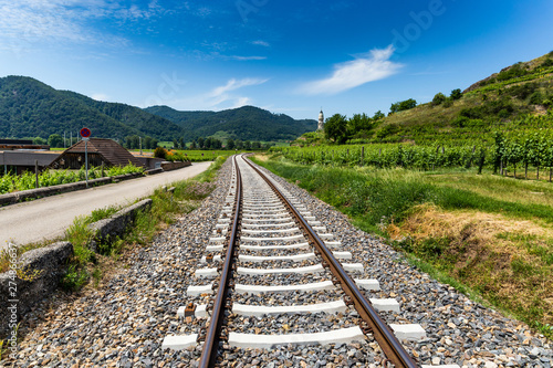 Poster Voies ferrées Railroad tracks in Wachau valley. Austria.