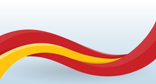 Spain National Flag. Waving Unusual Shape. Design Template For Decoration Of Flyer And Card, Poster, Banner And Logo. Isolated Vector Illustration.