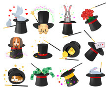 Magician Hat Vector Illusionist Show With Animal Character Cat Dog In Magical Hat Illustration Illusionism Set Of Cartoon Magic Show Performance With Bunny Dove Illusion, Isolated On White Background
