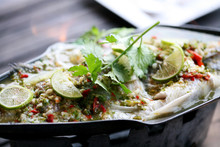 Steamed Seabass Fish With Lemon , Close Up