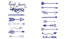Handdrawn Arrow Vector. Arrow Thin Line Icon Set. Modern Outline Sign Kit Of Pointer. Linear Curved Arrow Collection. Simple Dark Blue Symbol On White. Vintage Style Illustration Turn To The Left Icon