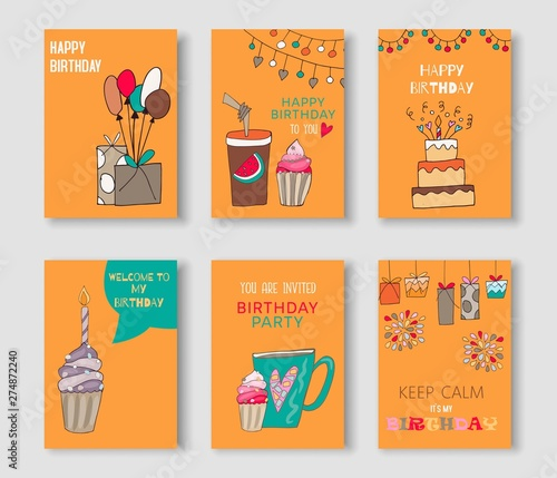 Happy Birthday Card Set Invitation Templates Greetings