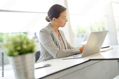 Smart businesswoman working in contemporary office Tableau sur Toile