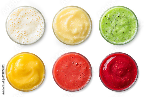 Set of various fresh fruit smoothies