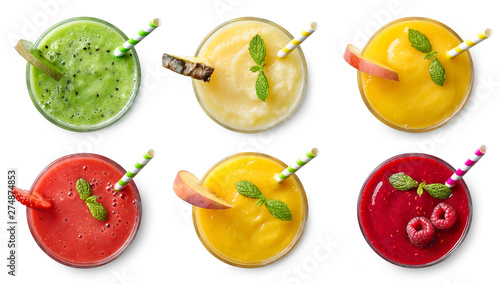 Poster Pays d Europe Set of various fresh fruit smoothies