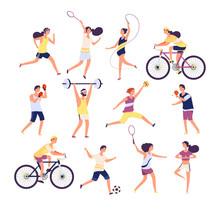 Sports People Set. Exercising ...