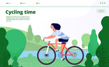 Sports Landing. Woman Cycling, Fitness Sport Exercises. Person Riding Bicycle In Forest Park, Enjoy Healthy Lifestyle Web Vector Page. Woman Ride By Bicycl In Park Near Lake Illustration