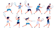 Tennis Players. Man And Woman Holding Racket And Hitting Ball Playing Tennis. Isolated Cartoon Vector Characters Set. Illustration Of Player Tennis With Racket, Play Sport Activity