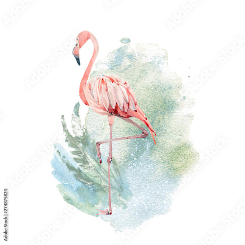 Tablou Canvas Watercolor flamingo illustration